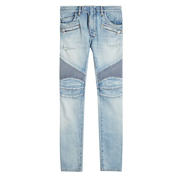 Balmain Skinny Biker Jeans (78,580 PHP) ❤ liked on Polyvore featuring men's fashion, men's clothing, men's jeans, blue, mens leather skinny jeans, mens biker jeans, mens skinny jeans, mens bleached jeans and mens blue skinny jeans