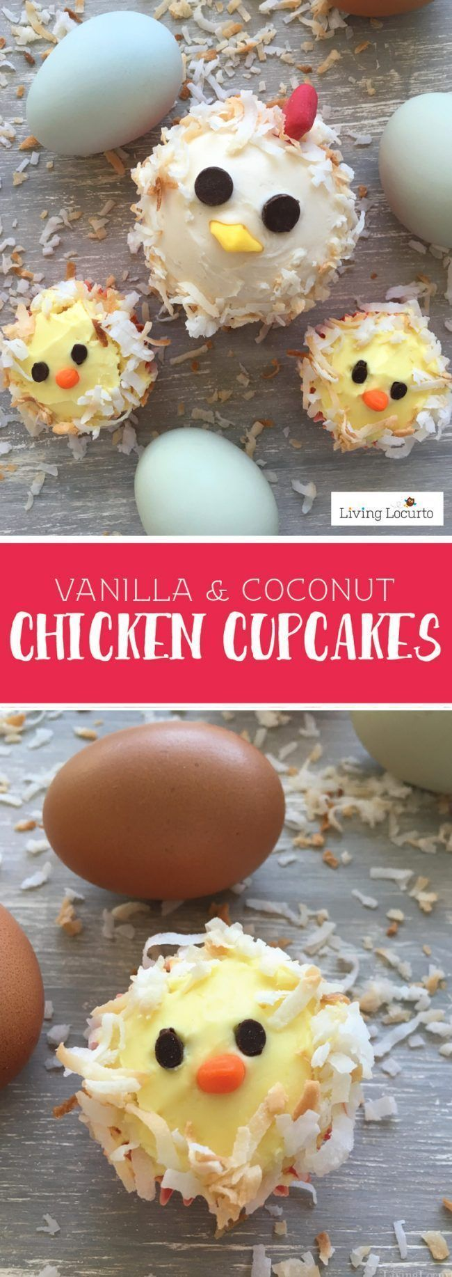 Mama chicken and baby chick cupcakes are an adorable party idea! These cute chicken cakes are a perfect way to celebrate a birthday, Easter or baby shower. http://LivingLocurto.com