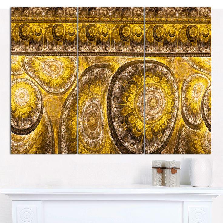 "DESIGN ART Designart 'Golden Extraterrestrial Life Cells' Modern Floral Artwork - 36""x28"" 3 Panels"