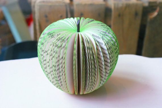 3D paper apple sculpture made with recycled English by tigers4tea, £8.00