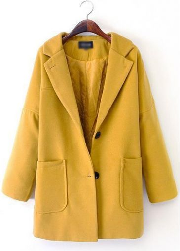 Catching Turndown Collar Long Sleeve Coat with Button