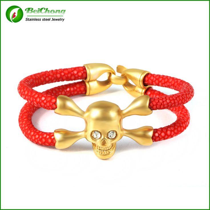 Красная Кожа Ската Браслет Золотой Череп С Белый Циркон мужская Мода Натуральной кожи ската браслет Бесплатная Доставка