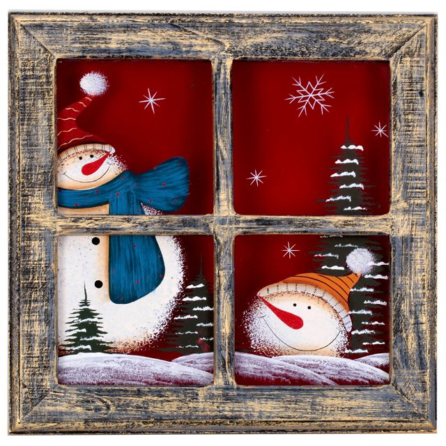 Картина Lapland Снеговик в окне дерево 22х22см Q04450073