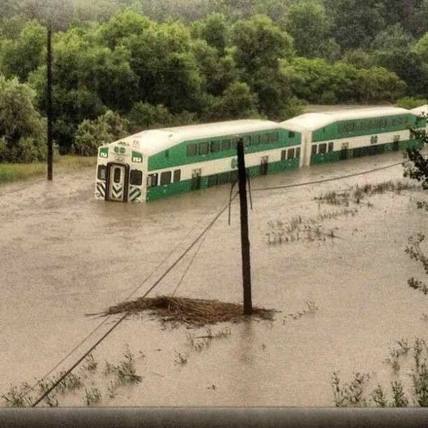 GO train stranded due to flooding. July 8, 2013