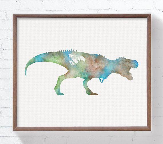 Aquarel dinosaurus Set van 4 Prints Dinosaur door MiaoMiaoDesign