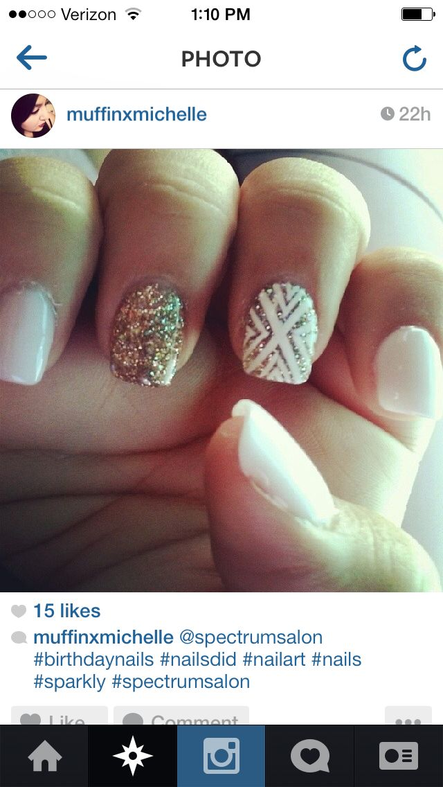 $5 white and gold nails