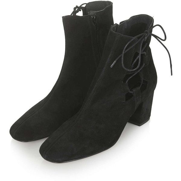 TOPSHOP MADRID Ghillie Side Tie Boots (180 CAD) ❤ liked on Polyvore