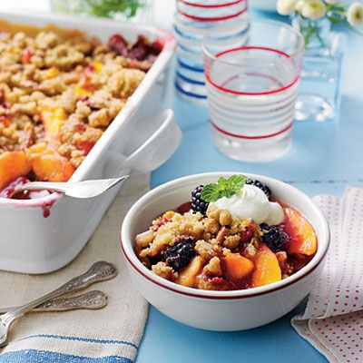 Recipe: Blackberry-Peach Cobbler with Praline-Pecan Streusel | SouthernLiving.com | #4thofJuly