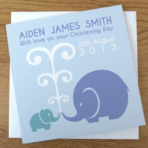 Elephant Christening card in blue. £3.99 from www.doodlebump.com. With free personalisation and UK postage.