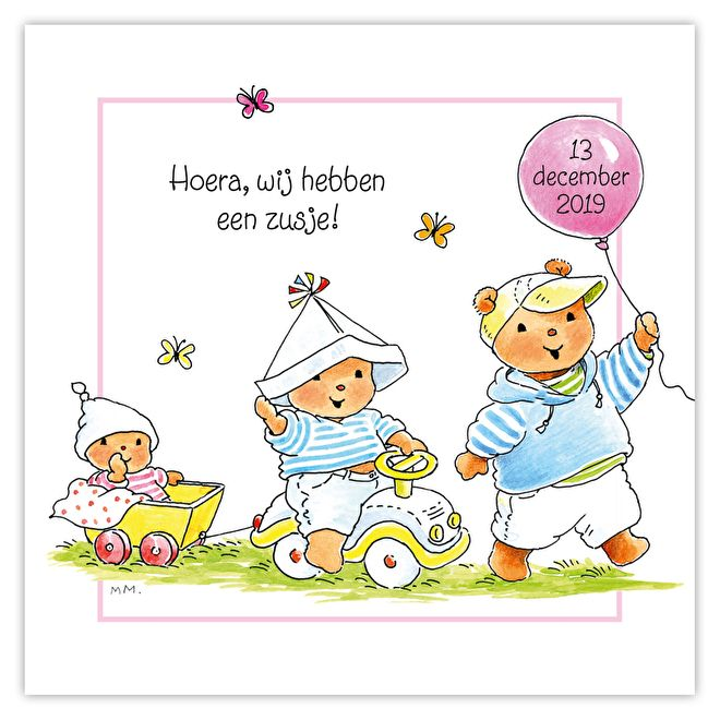 Geboortekaartje derde kindje Monica Maas Bobbi beertje