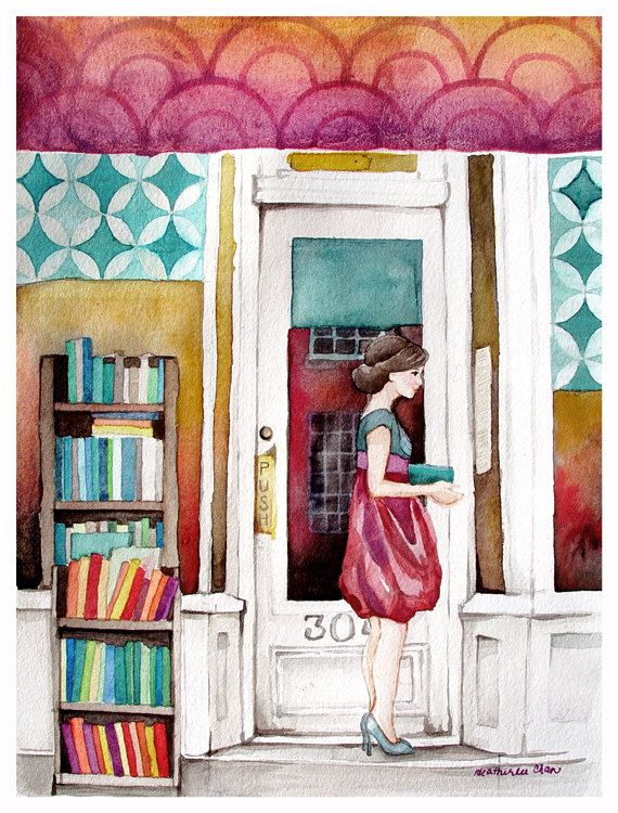 The Reader Watercolor - Bookstore - Student - Painting Print