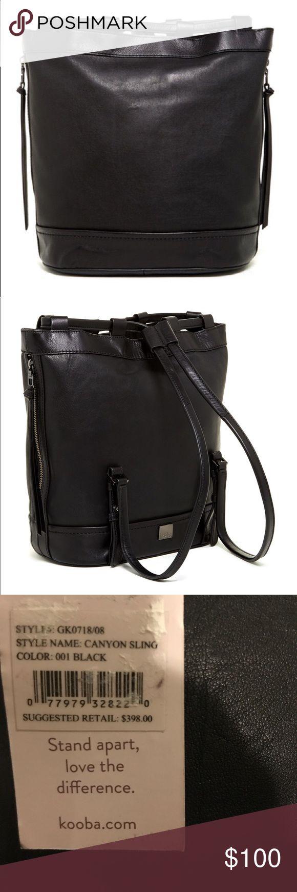NWT! Kooba backpack NWT! Kooba canyon sling backpack! Black leather! Zippers on both sides for easy access! Kooba Bags Backpacks
