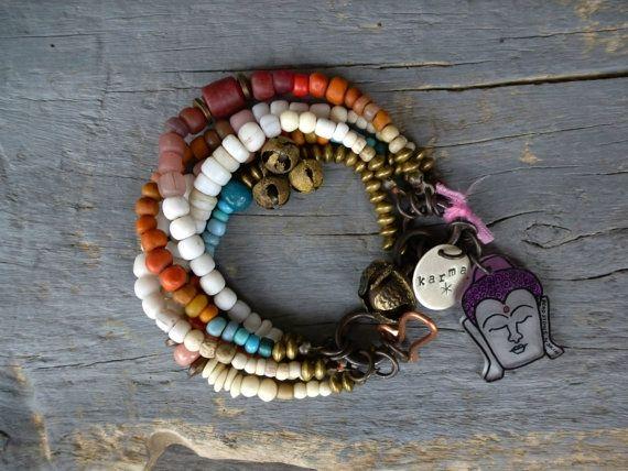 Multi strand yoga bracelet Layering bracelet by BeadStonenSkin by BeadStonenSkin