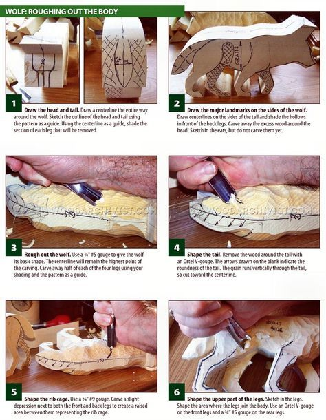 Wolf carving wood patterns