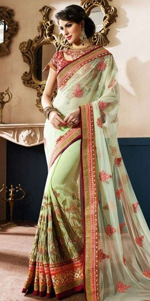 Colorful Green Net #Saree. @http://www.maalpani.com/latest-arrivals.html