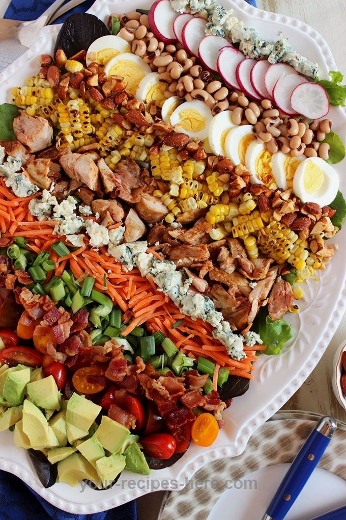 Quick and easy, this Barbecue Chicken Cobb Salad is made simple with leftover barbecue chicken! Topped with an Avocado Ranch Dressing...this is a hit at every family dinner. Perfect for weeknights.