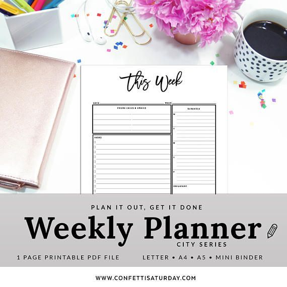Weekly Organizer - Weekly Planner - Weekly To Do List - Weekly Task List - This Week - Work Organizer - INSTANT DOWNLOAD - PWEK1200-A by ConfettiSaturday