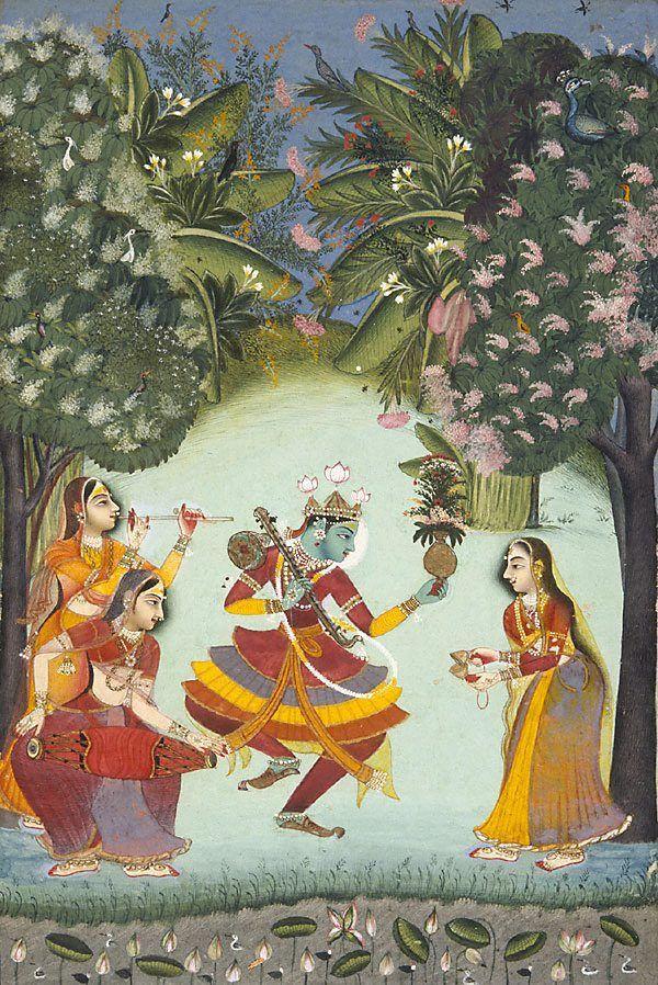 Vasant Ragini Krishna Dancing with Three Female Musicians Kota, Rajasthan,India  circa 1770