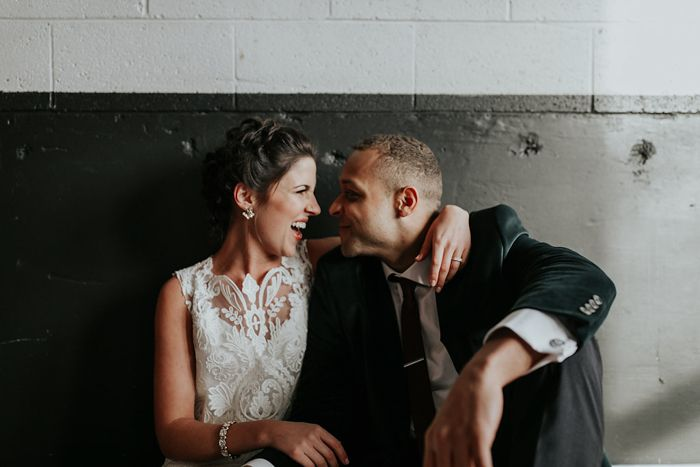 This Union/Pine wedding features warm industrial vibes, a totally handmade bridal gown, and some of the most playful couple portraits ever!