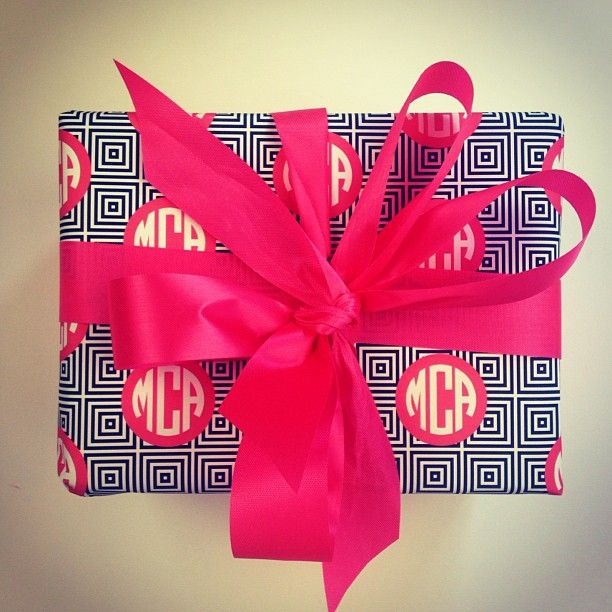 Monogram wrapping paper.