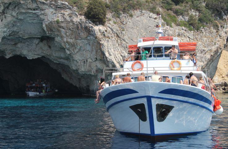 Exploring the blue caves along the coast of Zakynthos :)