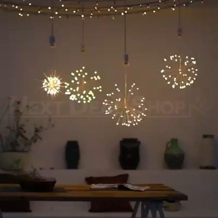 Battery or Solar Hanging Starburst Fairy Strig Lights DIY Copper Fireworks String Garland Party Twinkle Lights
