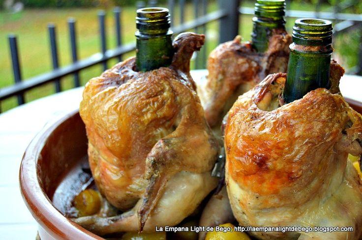 Pollo Sentado al Cava. Receta facil de Pollo al Horno