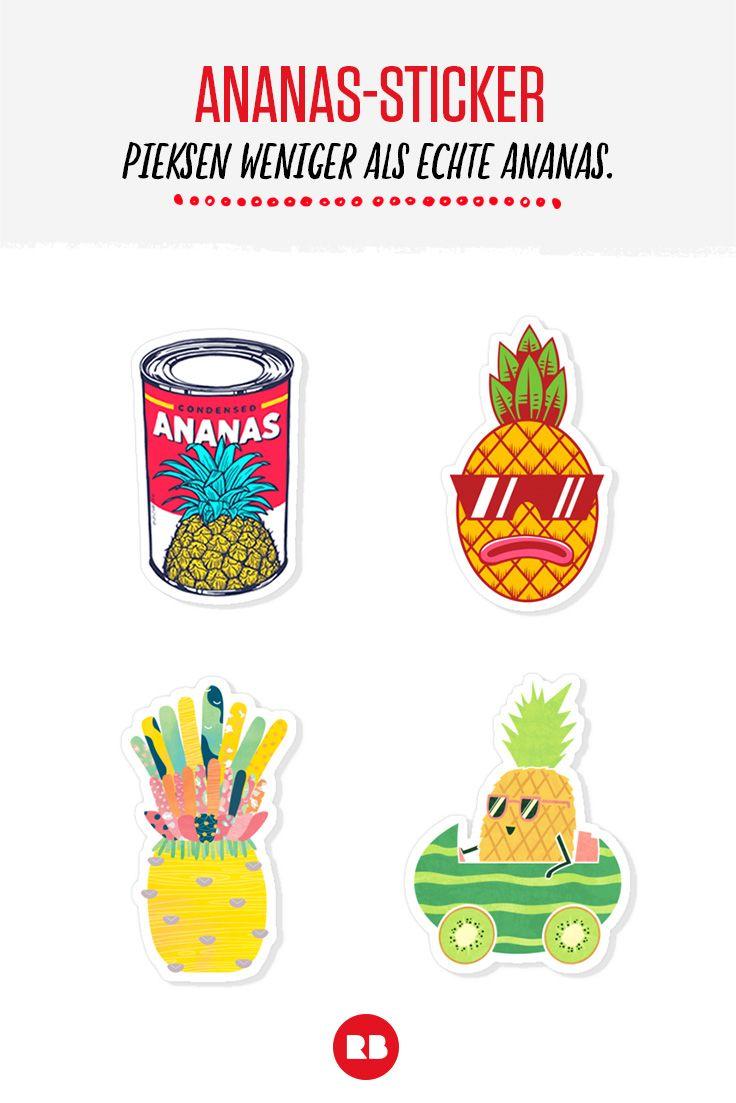 Die pieksen nicht, die kleben nur. Welche Ananas ist deine? Find die passenden Sticker bei Redbubble!