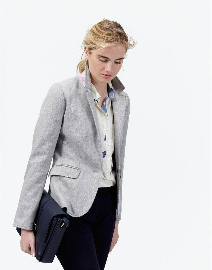 OLIVIA Womens Single Breasted Jersey Tweed Blazer