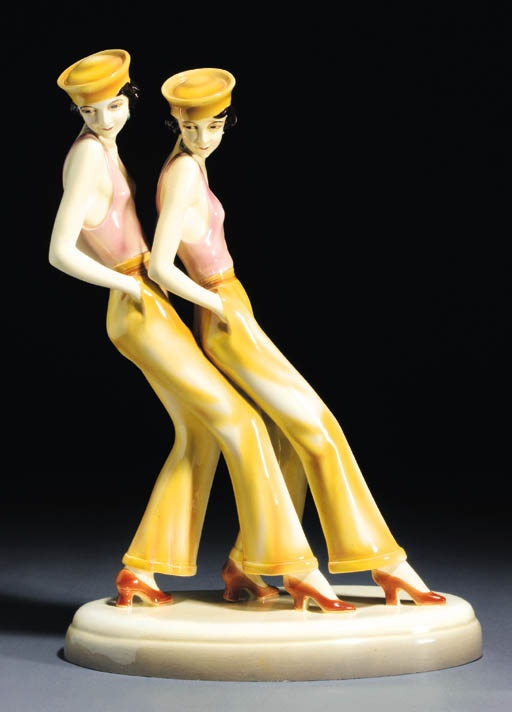 "A Goldscheider pottery group ""Sailor's Dance"" by Dakon, Austria circa 1928."