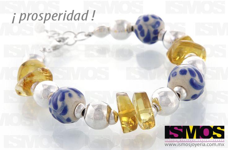 ISMOS Joyería: pulsera de plata, ámbar y cerámica de talavera // ISMOS Jewelry: silver, amber and ceramic bracelet