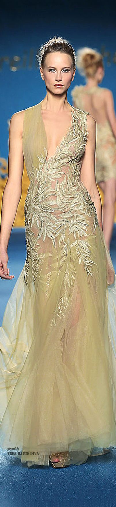 Mireille Dagher ~ Couture Evening Gown, Beige