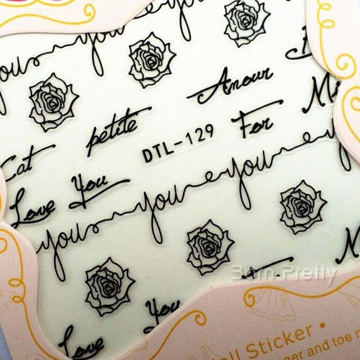 $1.55 1 Sheet Adhesive 3D Nail Sticker Flower/Word Black/White Decal Nail Decoration DTL129 - BornPrettyStore.com