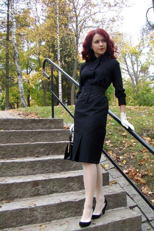 50's reproduction black wool walking dress Francoise -dress, Made to order, all sizes. €135.00, via Etsy.