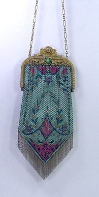 Antique Jeweled Frame Mandalian Enamel Baby Mesh Fringe Flapper Purse Bag | eBay