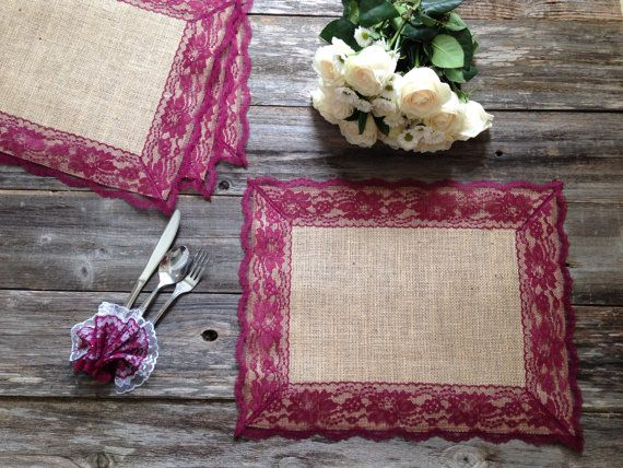 Burlap Placemats with BURGUNDY RED/WINE Lace/Country