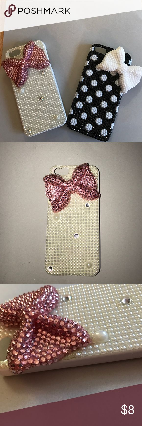 iPhone 5/5s big sparkle bow cases These are very loved cases! -The case with the pink bow has 2 rhinestones missing( as shown is picture #3). -The case with  white bow has a few rhinestones missing at the bottom(as shown in picture #5). -they're beautiful cases and are hard to find. Accessories Phone Cases