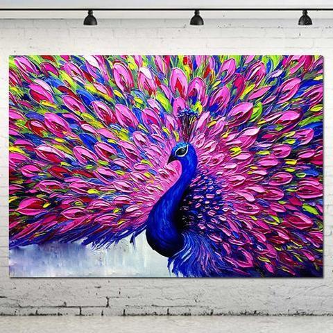 High Skills Artist 100% Hand-painted Palette Knife Impasto Animal Oil Painting On Canvas Abstract Peacock wall decor painting - GKandAa