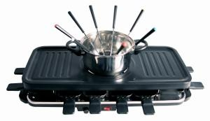 Product Description The 3 in 1 Fondue - Grill with Raclette combines the fun of Fondue and Table Top Grill with the uniqueness of Raclette. Price: $99.99.