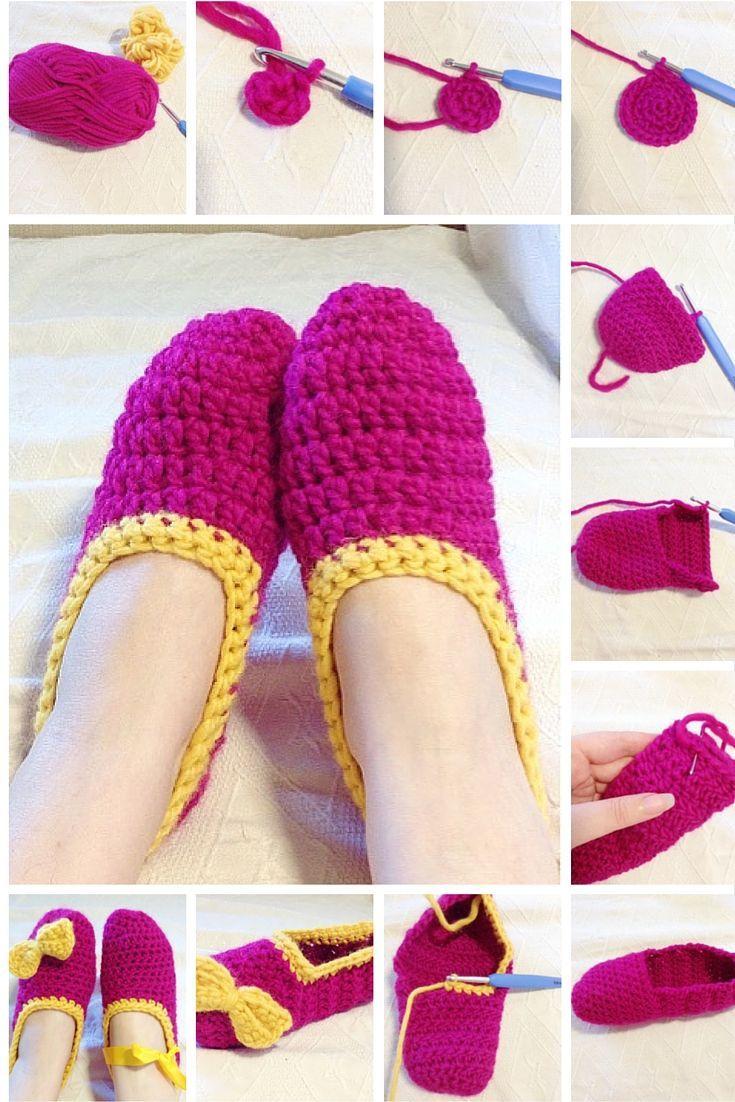 Garter Stitch Witch: Easy Chunky Ballerina Slippers - free crochet pattern