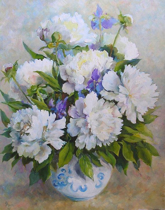 Peonies white Painting Pionies Painting Original by Mirabilitas