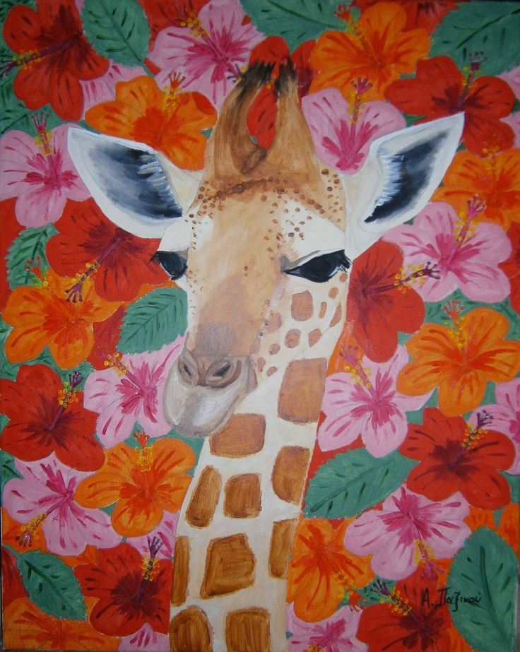 Alexandras craft and werk: Giraffe & Hibiscus, Acrylpainting 50x40cm