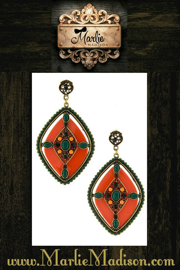 Aztec Princess Earrings in Orange http://www.marliemadison.com/accessories/jewelry/aztec-princess-earrings