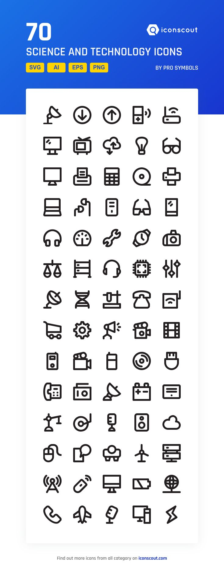 Science And Technology  Icon Pack - 70 Line Icons