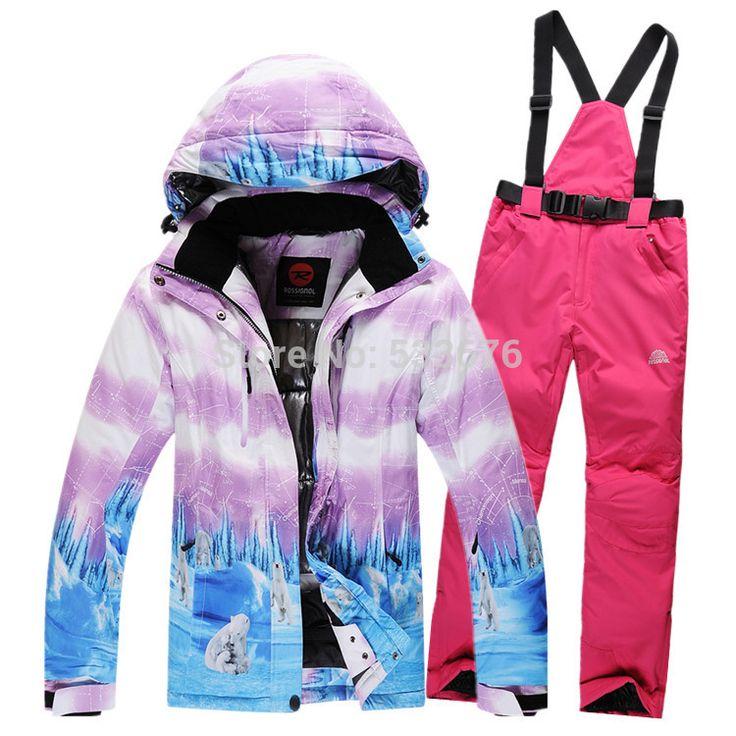 Лыжные костюмы женщины в куртка + брюки, Сноубординг катание на лыжах куртки спорт ветрозащитный воздухопроницаемый водонепроницаемый
