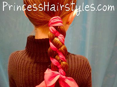braiding with ribbonBraids Hairstyles, Canes Braids, Princesshairstyles Com, Strand Braids, Ribbons Braids, Candies Canes, Christmas Hairstyles, Princesses Hairstyles, Girls Hair