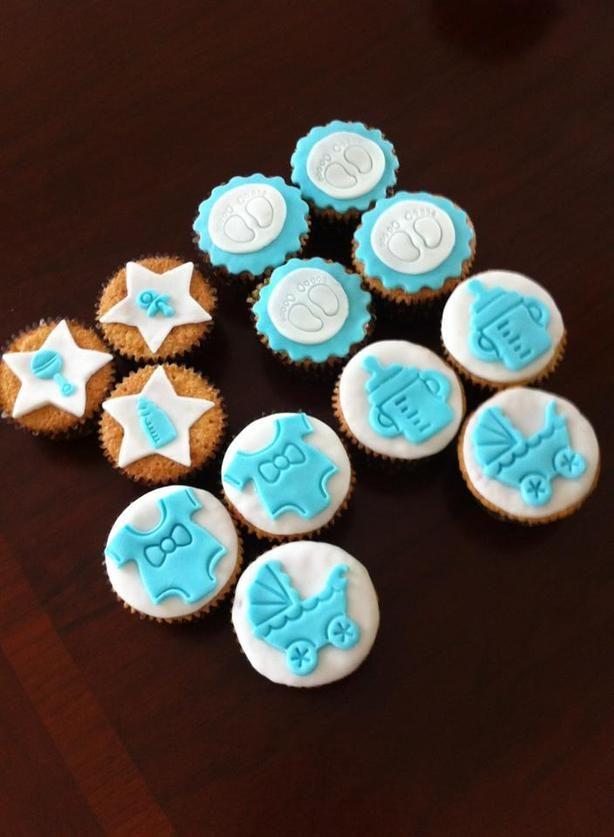 Cupcakes voor een jongens kraamborrel of babyshower!