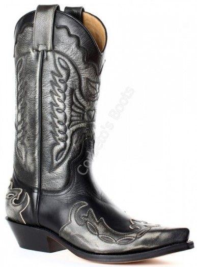 1927 Milanelo Bone-Pull Oil Negro | Bota cowboy Mayura unisex hecha en combinación de piel vacuno tono ceniza y negra a la venta en Corbeto's Boots.