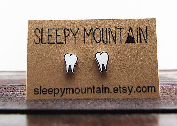 Teeth Earrings - Molars - Tooth Stud Earrings - Dental on Etsy, $9.00