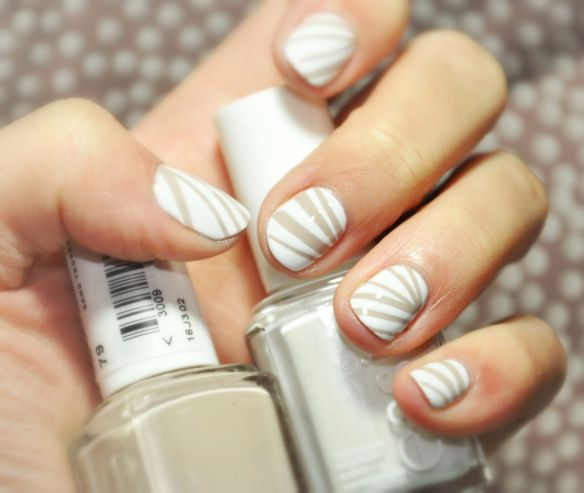 Nail art - nude and white stripes, made with masking tapes